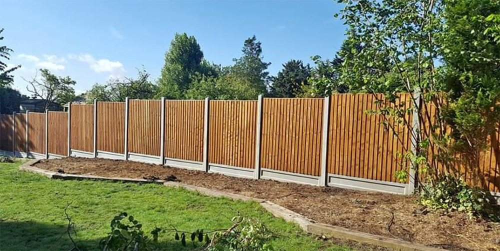 6ft closed board fencing concrete posts and kick board